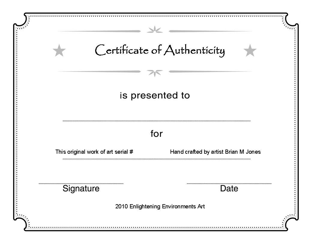 Printable Certificate Authenticity Template  Free Download  D Pertaining To Certificate Of Authenticity Template