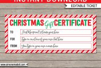 Printable Christmas Gift Certificate  Christmas Gift Voucher inside Christmas Gift Certificate Template Free Download