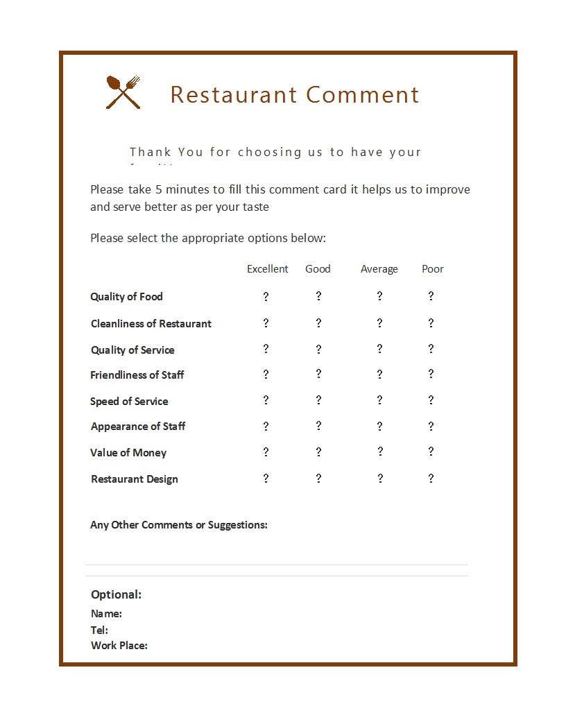 Printable Comment Card  Feedback Form Templates ᐅ Template Lab Within Restaurant Comment Card Template