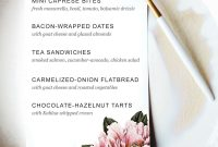 Printable Dinner Party Menu Template  Party Planning  Wedding Food for Baby Shower Menu Template Free