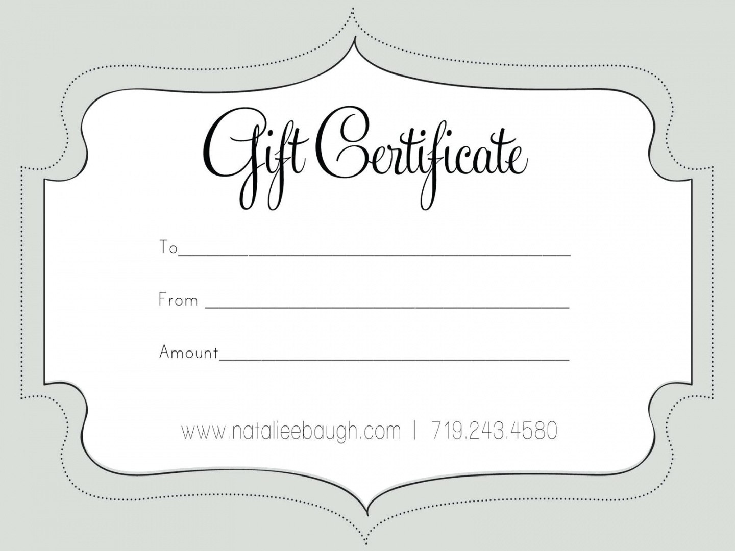Printable Fillable Gift Certificate Template Custom Certificates Intended For Custom Gift Certificate Template