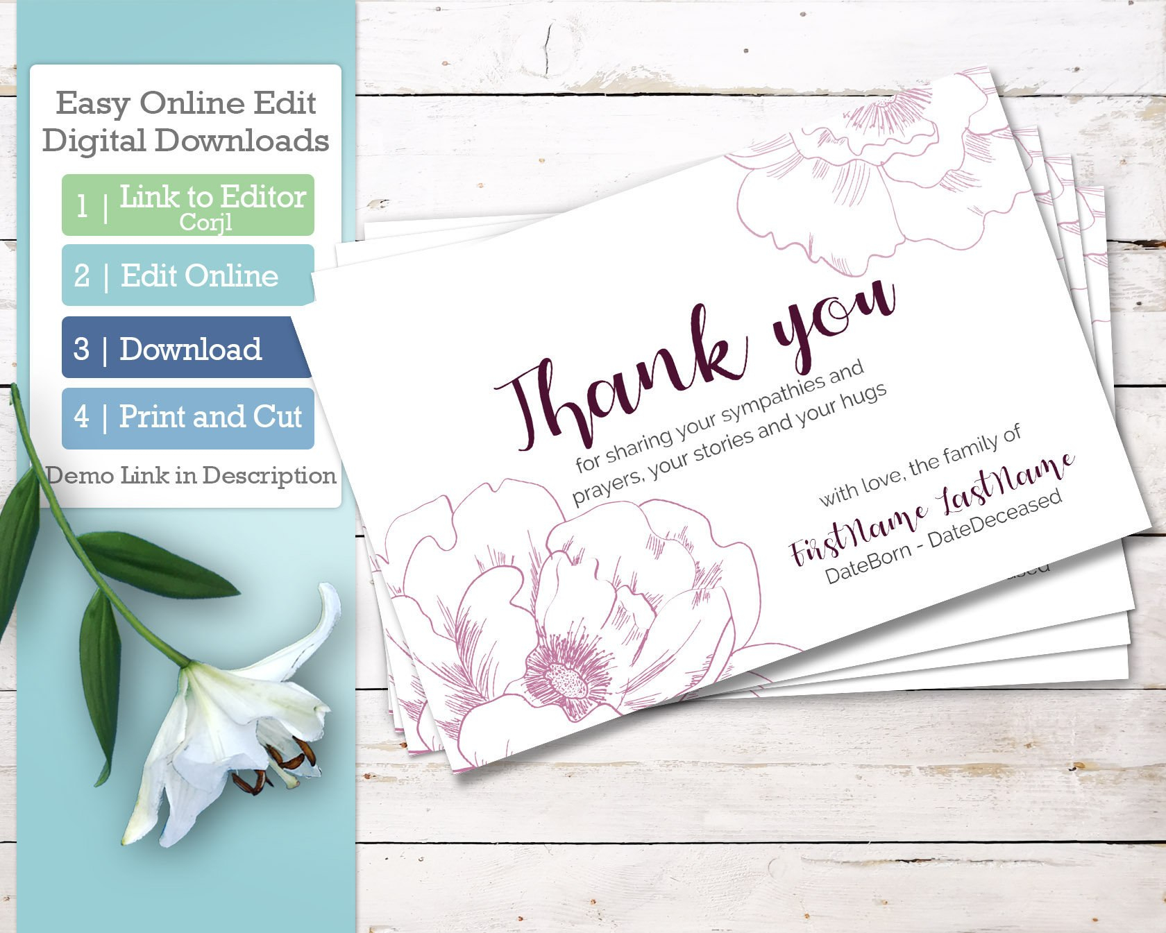 Printable Funeral Thank You Cards Personalized Sympathy Thank  Etsy For Sympathy Thank You Card Template