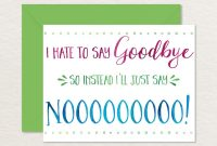 Printable Goodbye Card  Funny Goodbye Card  Printable  Etsy pertaining to Goodbye Card Template