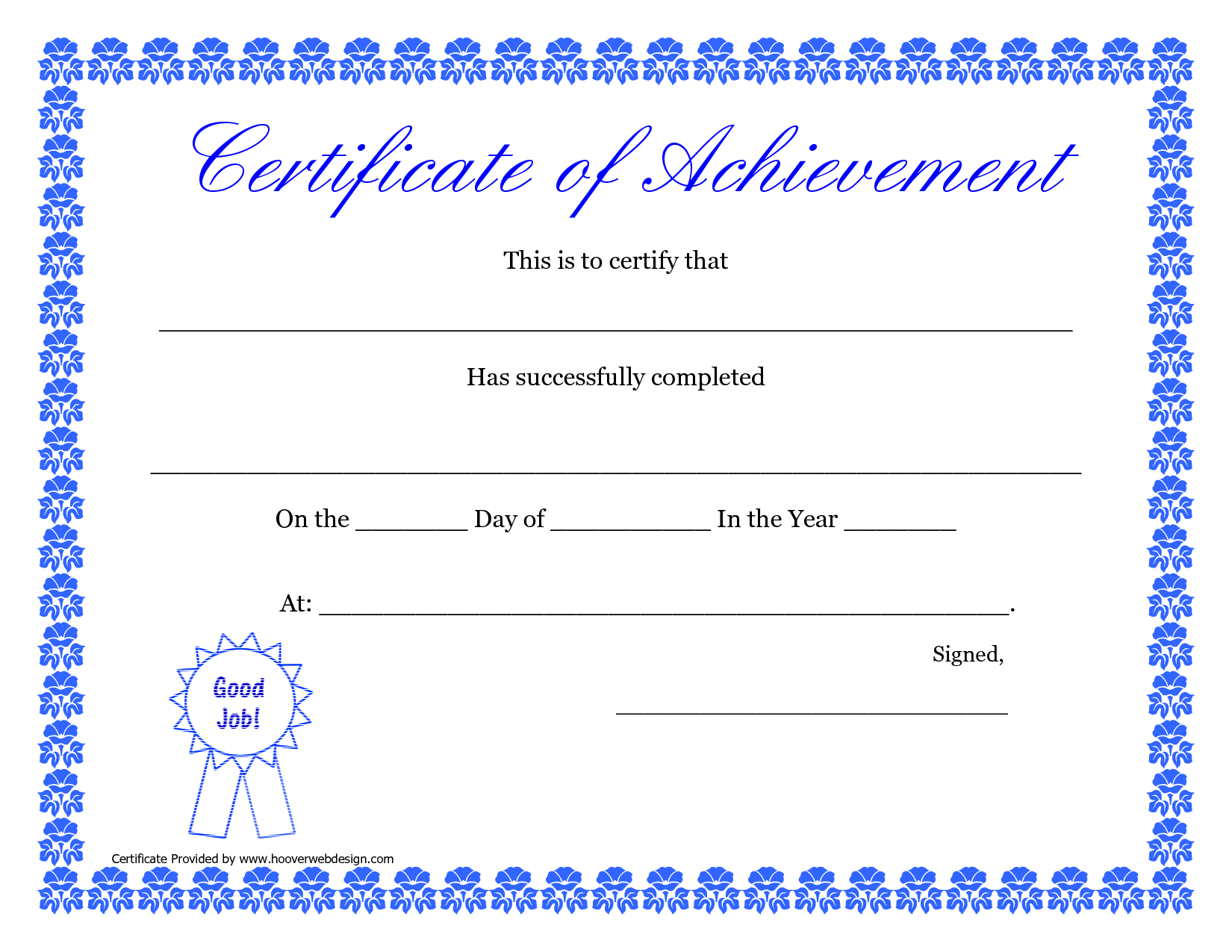 Printable Hard Work Certificates Kids  Printable Certificate Of With Regard To Free Printable Certificate Templates For Kids