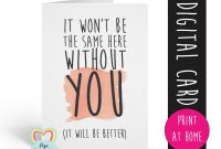 Printable Leaving Card Sorry You're Leaving Card Goodbye Card intended for Sorry You Re Leaving Card Template