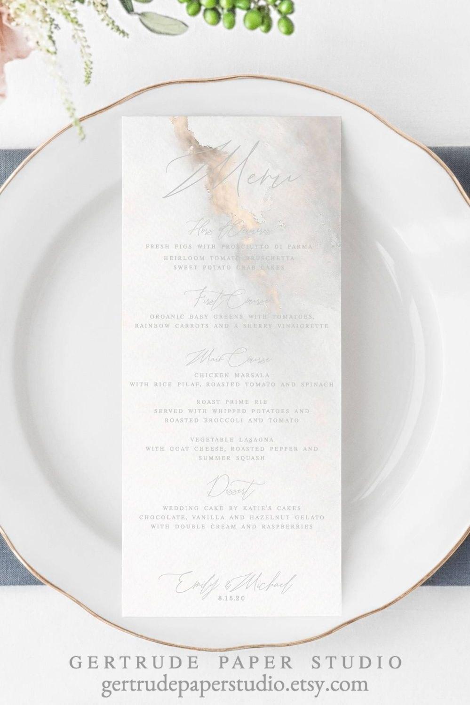 Printable Marble Wedding Menu Digital Download Copper Wedding Throughout Bridal Shower Menu Template