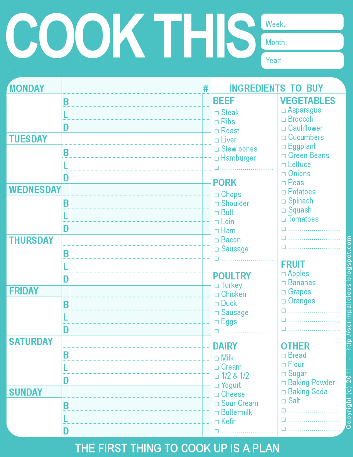 Printable Menu Planner From Scrimpalicious  Google Docs  For The Pertaining To Menu Template Google Docs