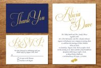Printable Navy Blue And Gold Wedding Invitationwedding Invitation with Wedding Card Size Template