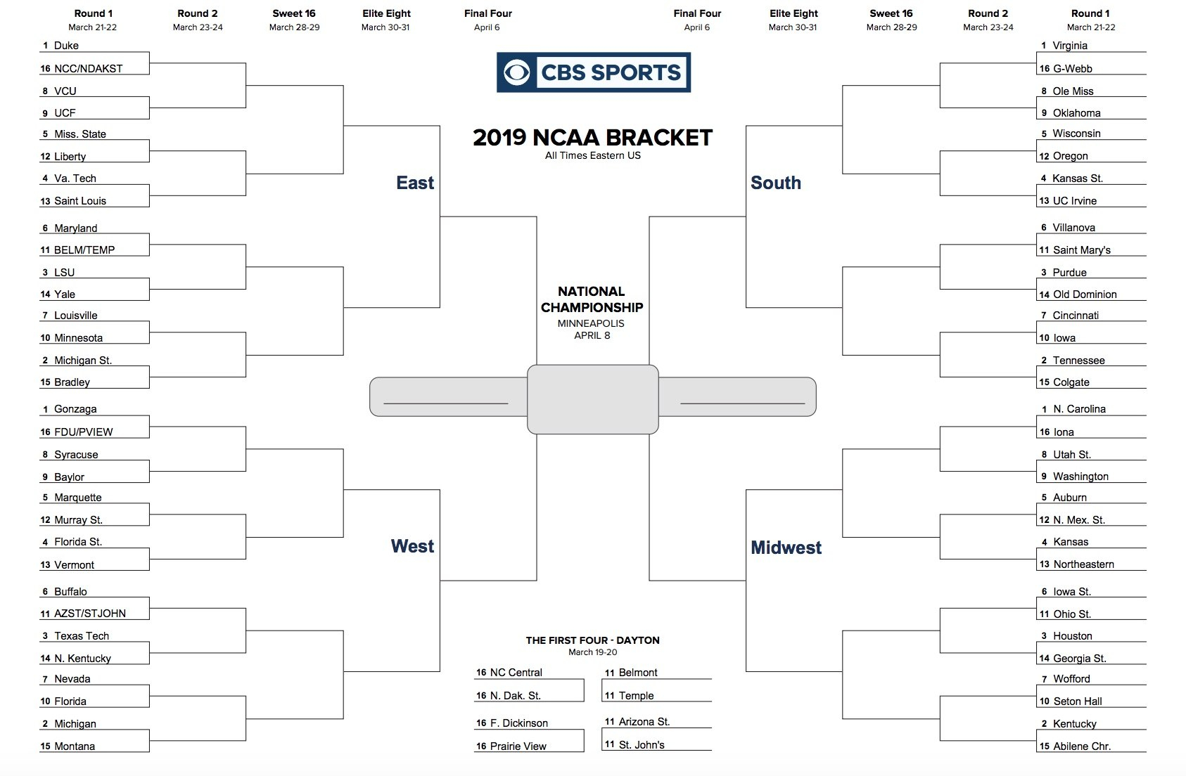 Printable Ncaa Tournament Bracket For March Madness Regarding Blank Ncaa Bracket Template