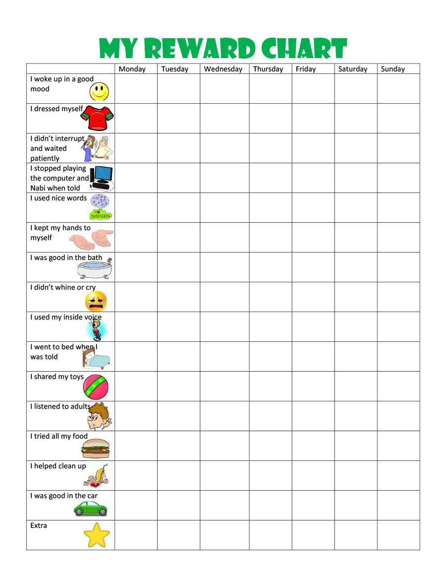 Printable Reward Charts For Kids Pdf Excel  Word Inside Blank Reward Chart Template