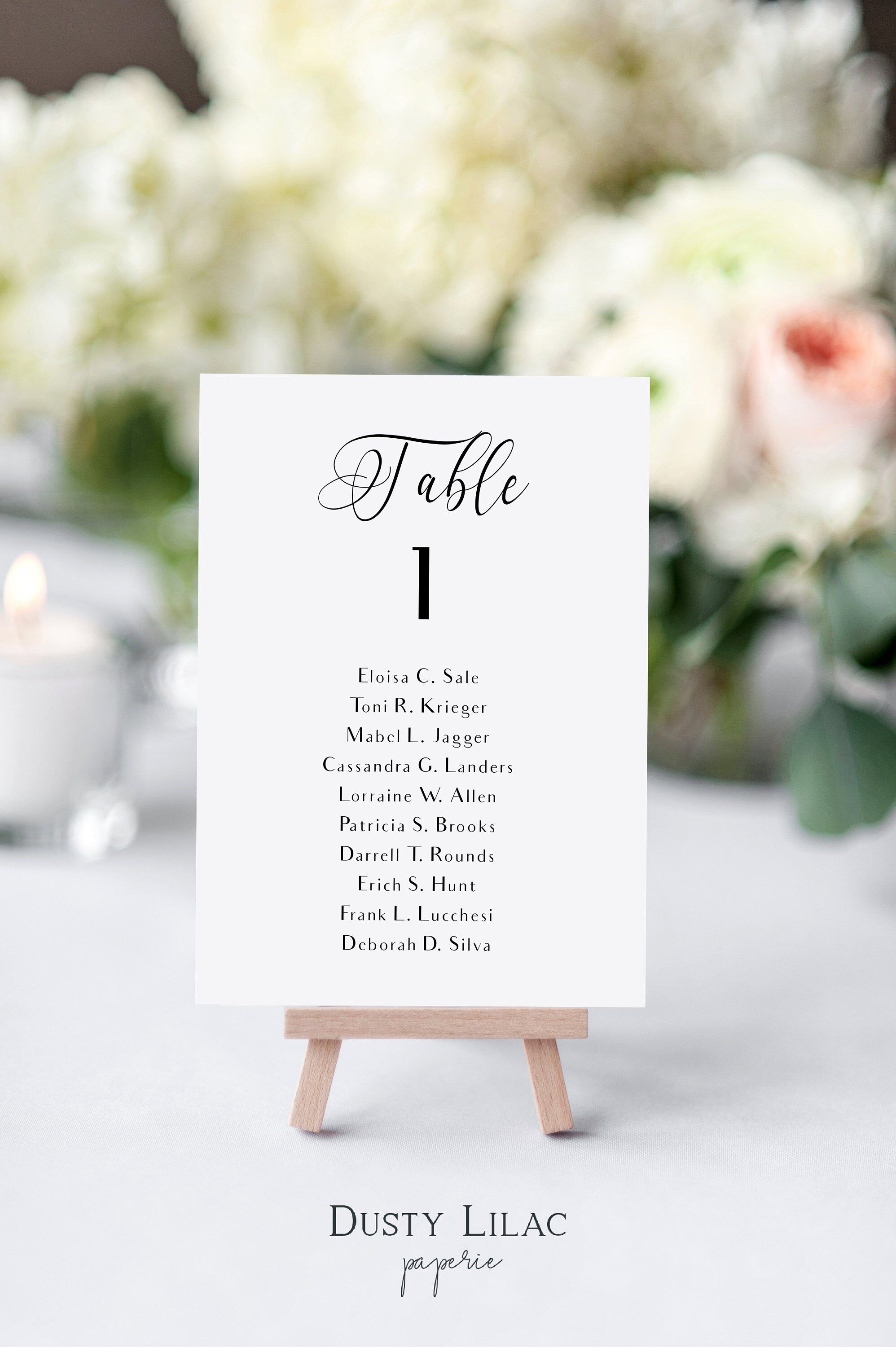Printable Table Number Cards With Guest Names Black And White Within Table Number Cards Template