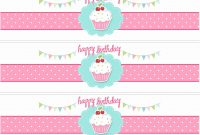 Printable Water Bottle Labels Free Templates Unique Cupcake Themed in Free Printable Water Bottle Label Template