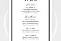 Printable Wedding Menu Template For Microsoft Word • Elegant Black regarding Wedding Menu Choice Template