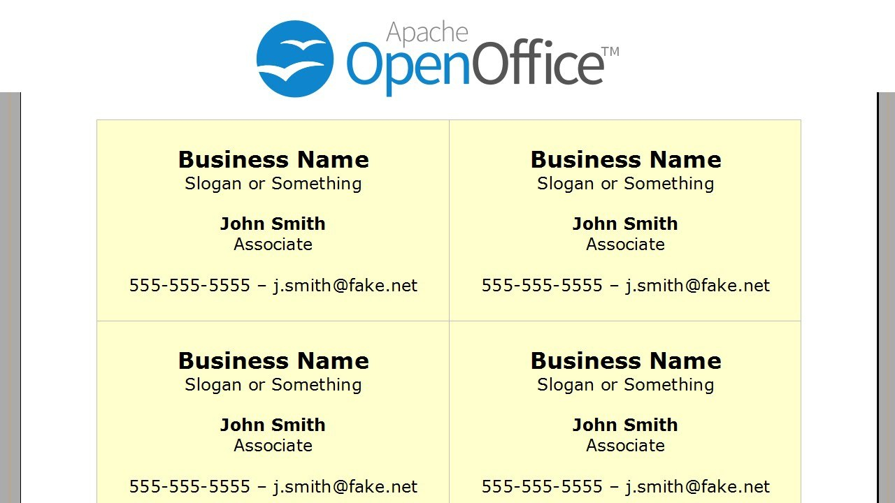 Printing Business Cards In Openoffice Writer  Youtube Throughout Business Card Template Open Office