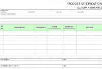 Product Specification Operational  Quality Assurance for Report Specification Template