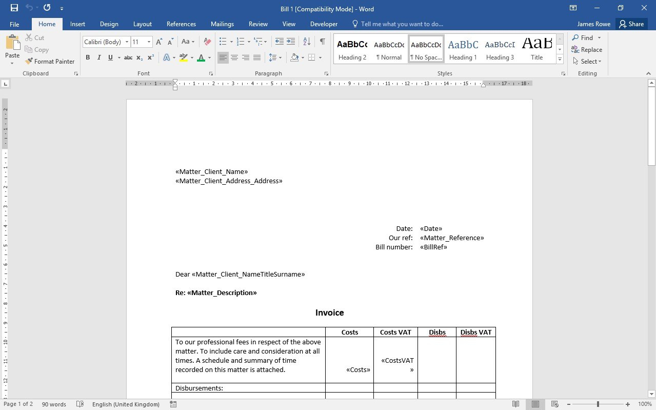 Professional Billing And Invoices With Insight Legal Software Inside Solicitors Invoice Template