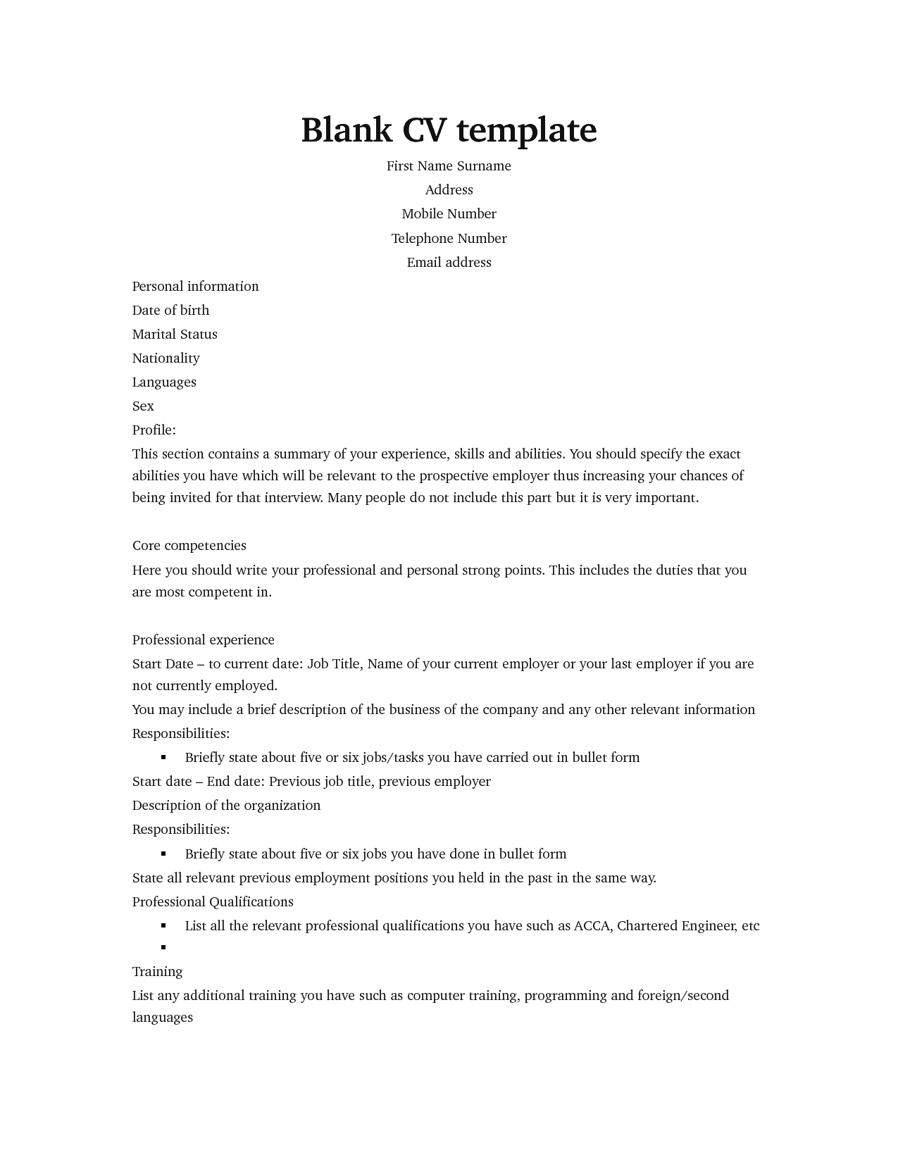Professional Blank Cv Template For Job Seekers With Regard To Free Blank Cv Template Download