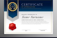 Professional Blue Certificate Template Design Vector Image for Professional Award Certificate Template