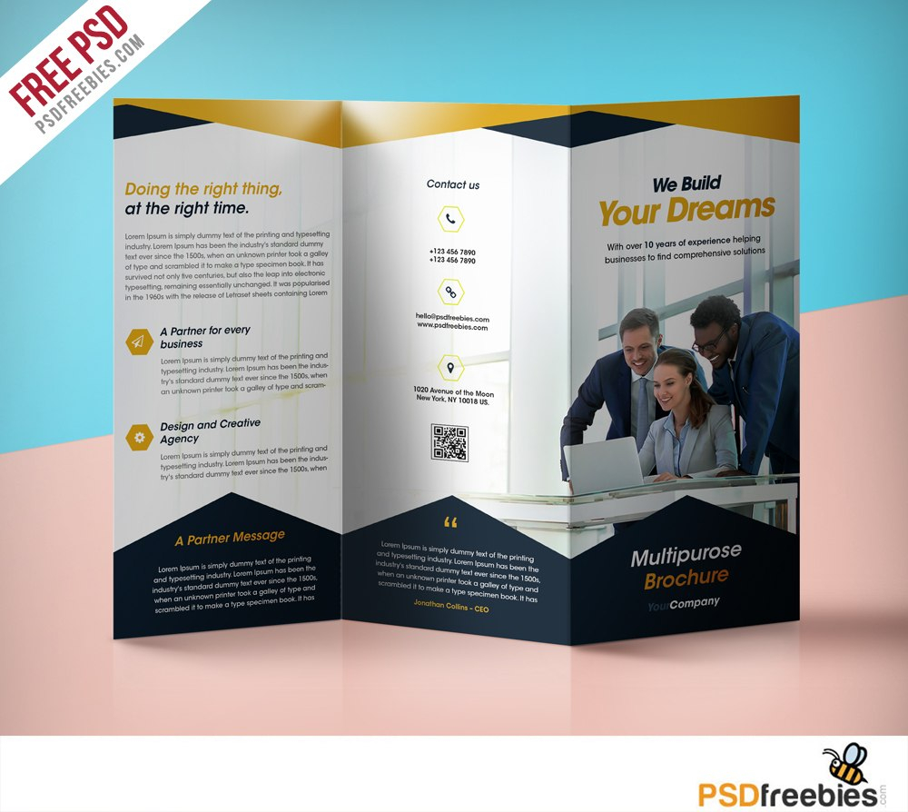 Professional Corporate Trifold Brochure Free Psd Template Inside Free Three Fold Brochure Template