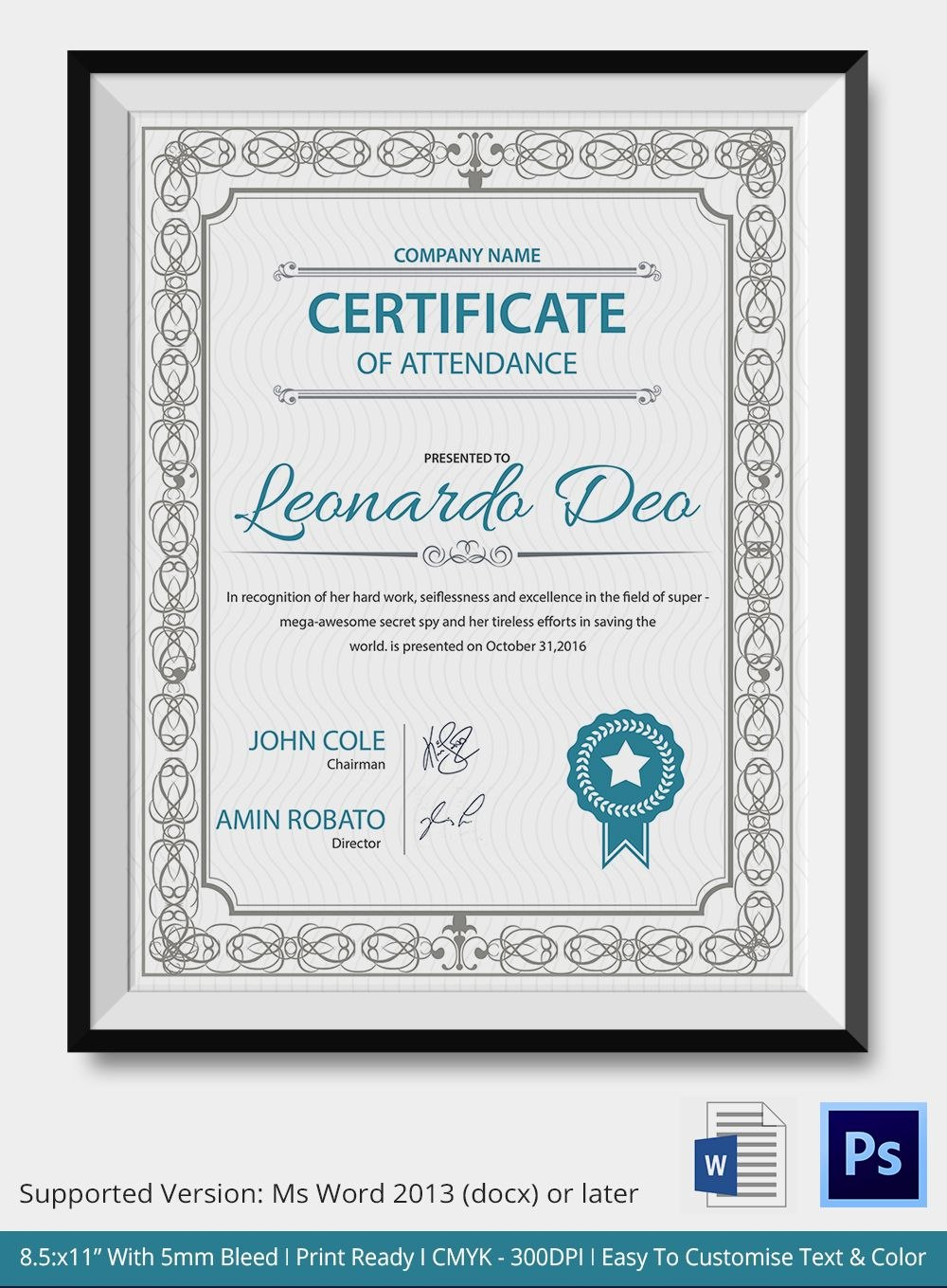 Professional Editable Certificate Of Attendance Template Sample For With Sample Certificate Of Participation Template