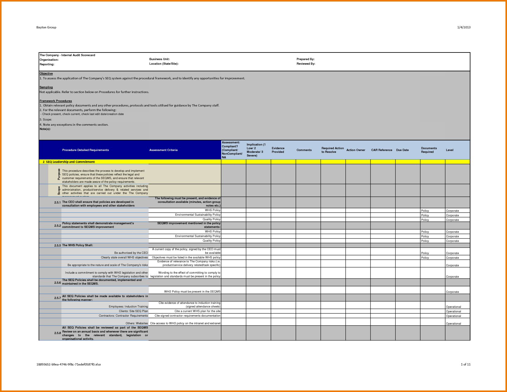 Professional Internal Audit Report Template Example With Blank In Report Template Word 2013