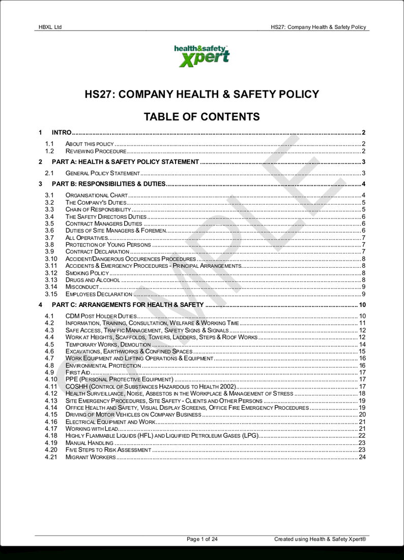 Professional Results  Hbxl Professional Services For Health And Safety Policy Template For Small Business