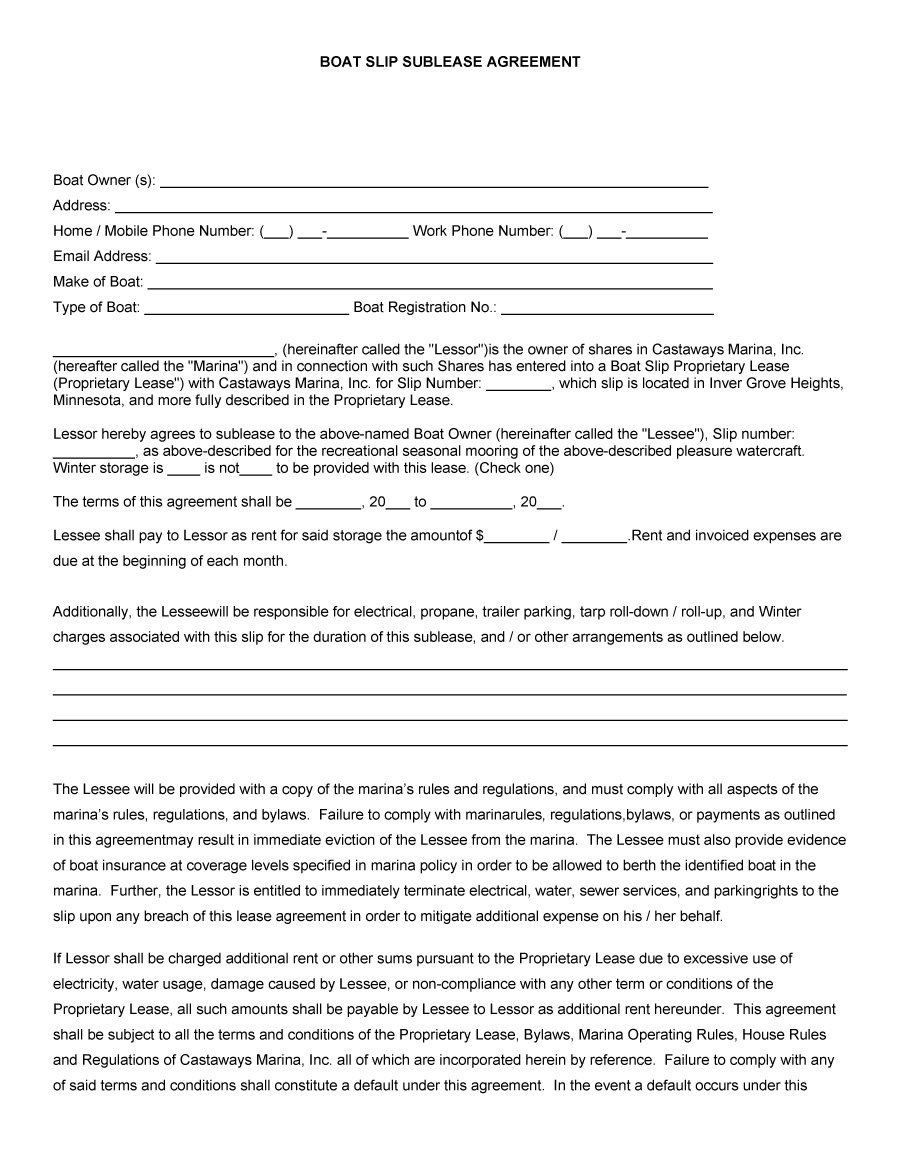 Professional Sublease Agreement Templates  Forms ᐅ Template Lab Regarding Boat Slip Rental Agreement Template