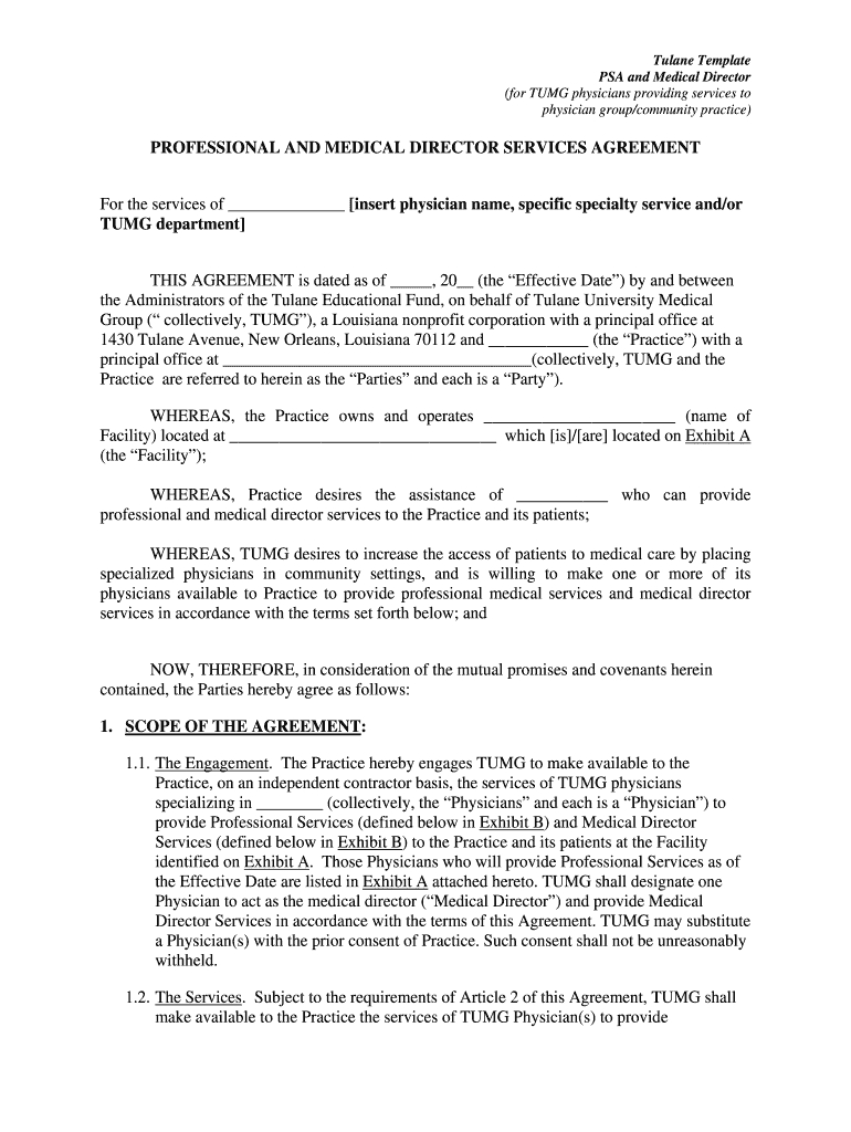 Professionalmedical Director Service Agreements  Tulane University In Physician Professional Services Agreement Template