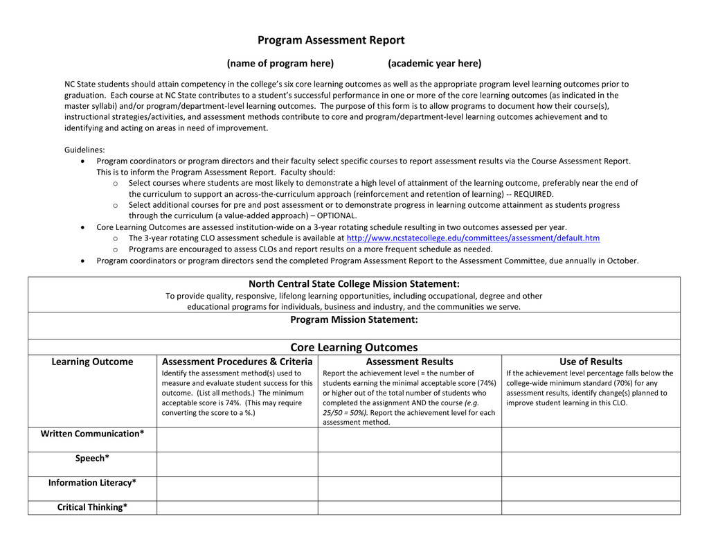 Program Assessment Report Template For Data Quality Assessment Report Template