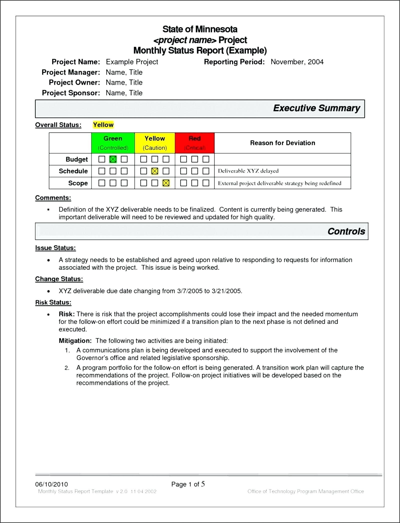 Project Management Status Report Template Progress Free  Smorad With Strategic Management Report Template