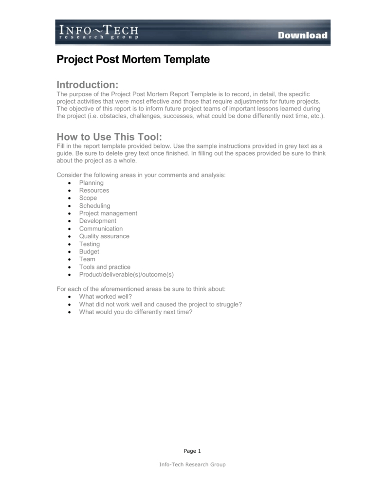 Project Post Mortem Template Intended For Post Project Report Template