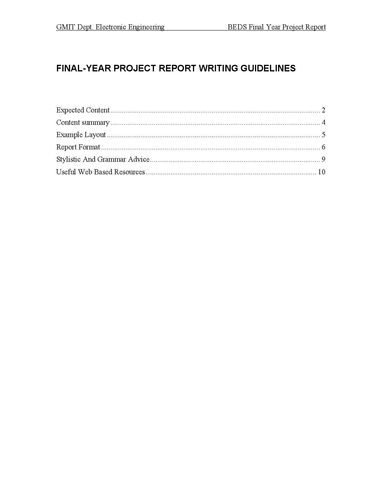 Project Report Template Ieee Standard  Docsity For Skeleton Book Report Template