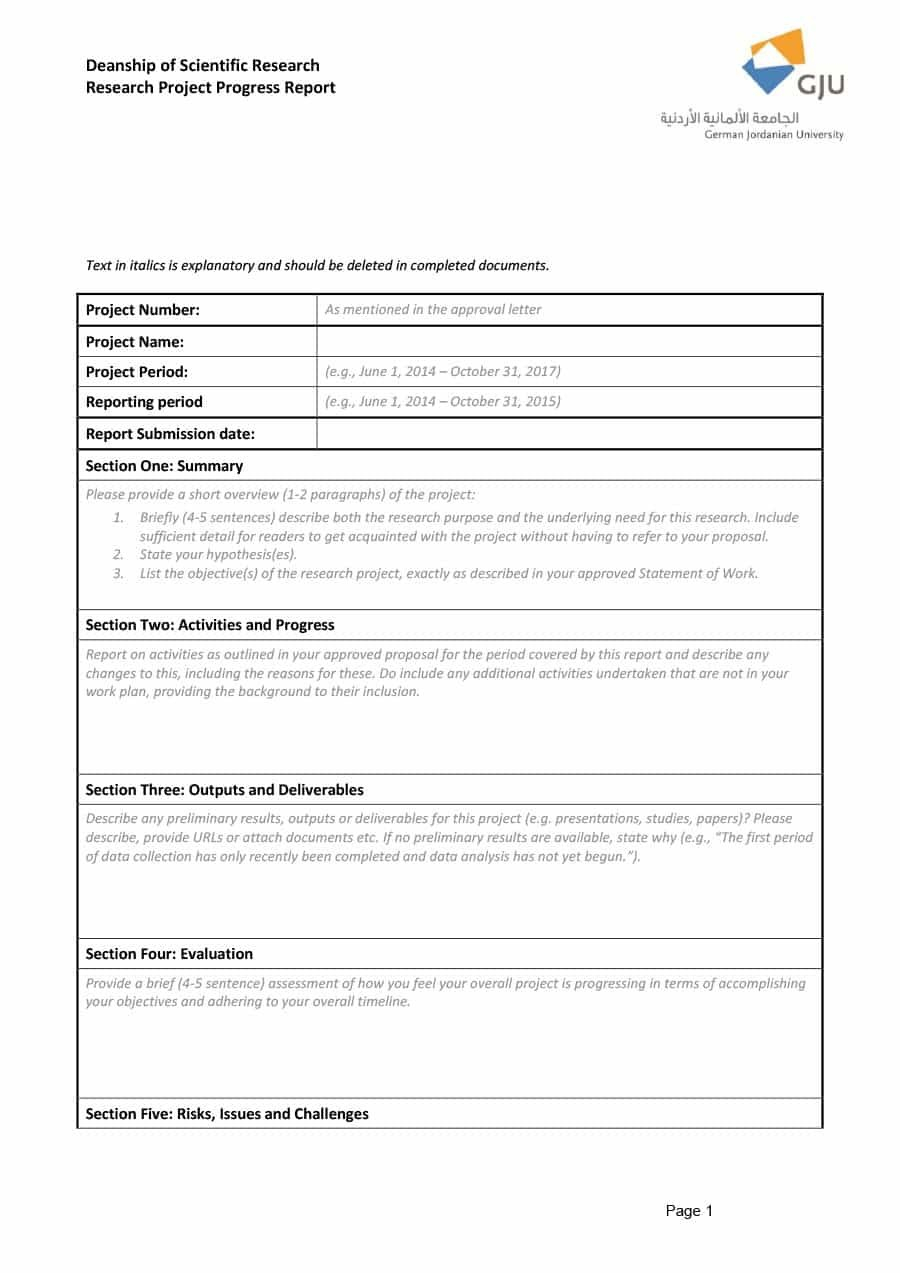 Project Status Report Templates Word Excel Ppt ᐅ Template Lab For Section 37 Report Template