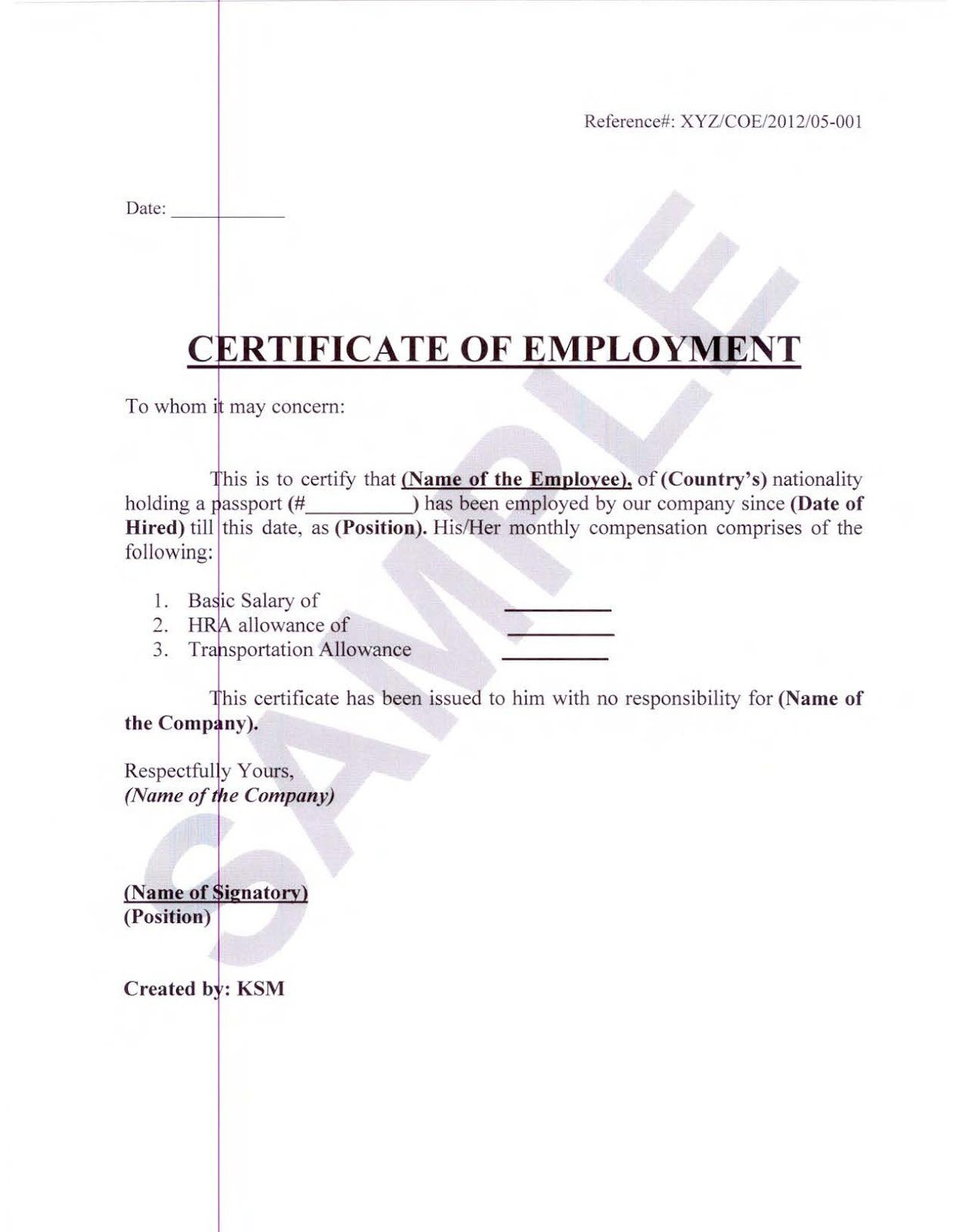 Proof Of Employment And Salary Letter Template Examples  Letter For Template Of Certificate Of Employment