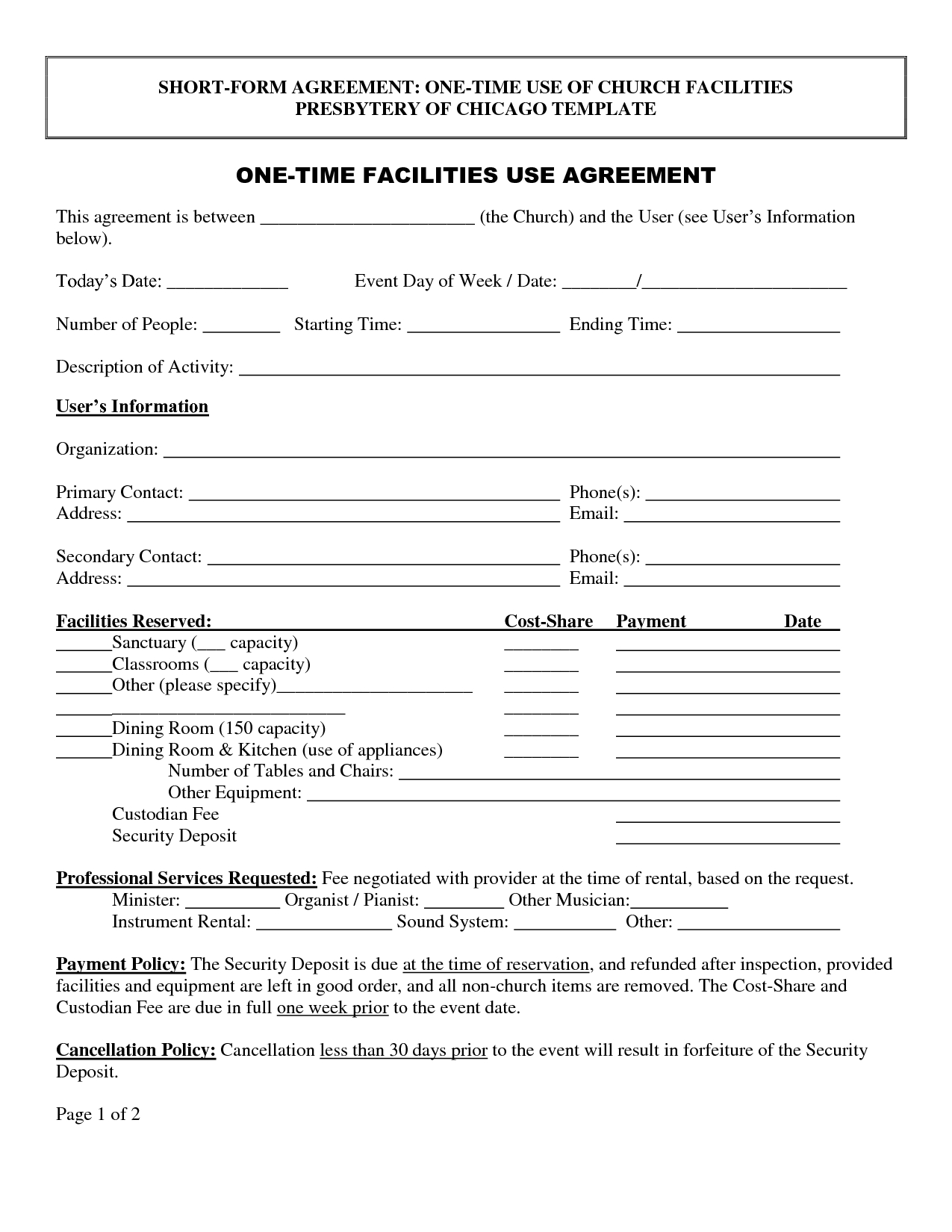 Property Use Agreement Template With Regard To Building Rental Agreement Template