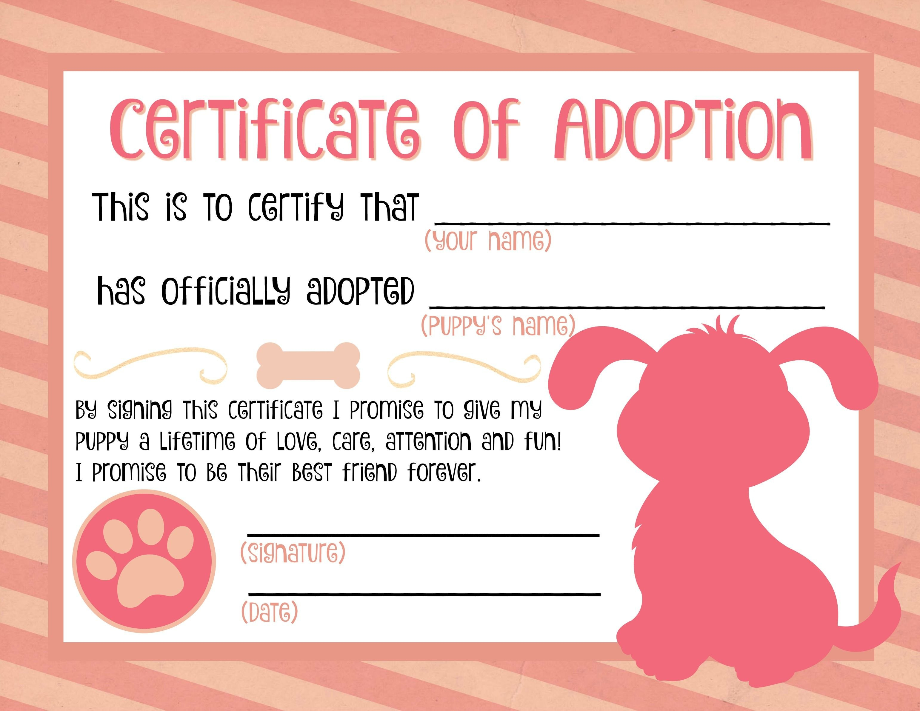 Puppy Adoption Certificate …  Party Ideas In … Pertaining To Pet Adoption Certificate Template