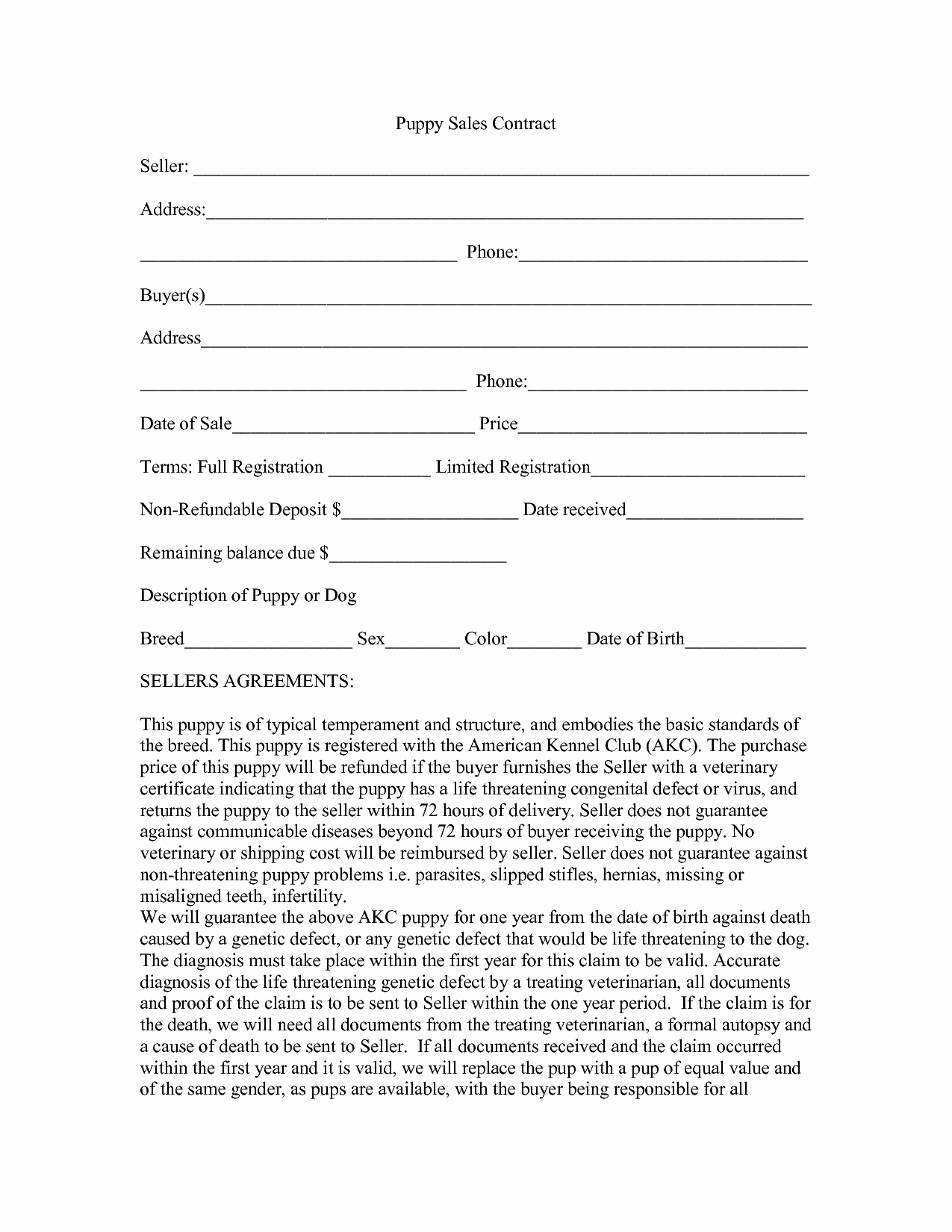 Puppy Sales Contract Template  Pictimilitude Pertaining To Puppy Contract Templates