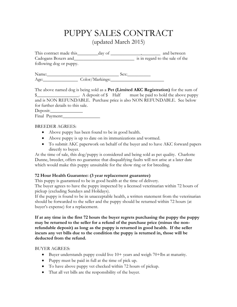 Puppy Sales Contract With Puppy Contract Templates