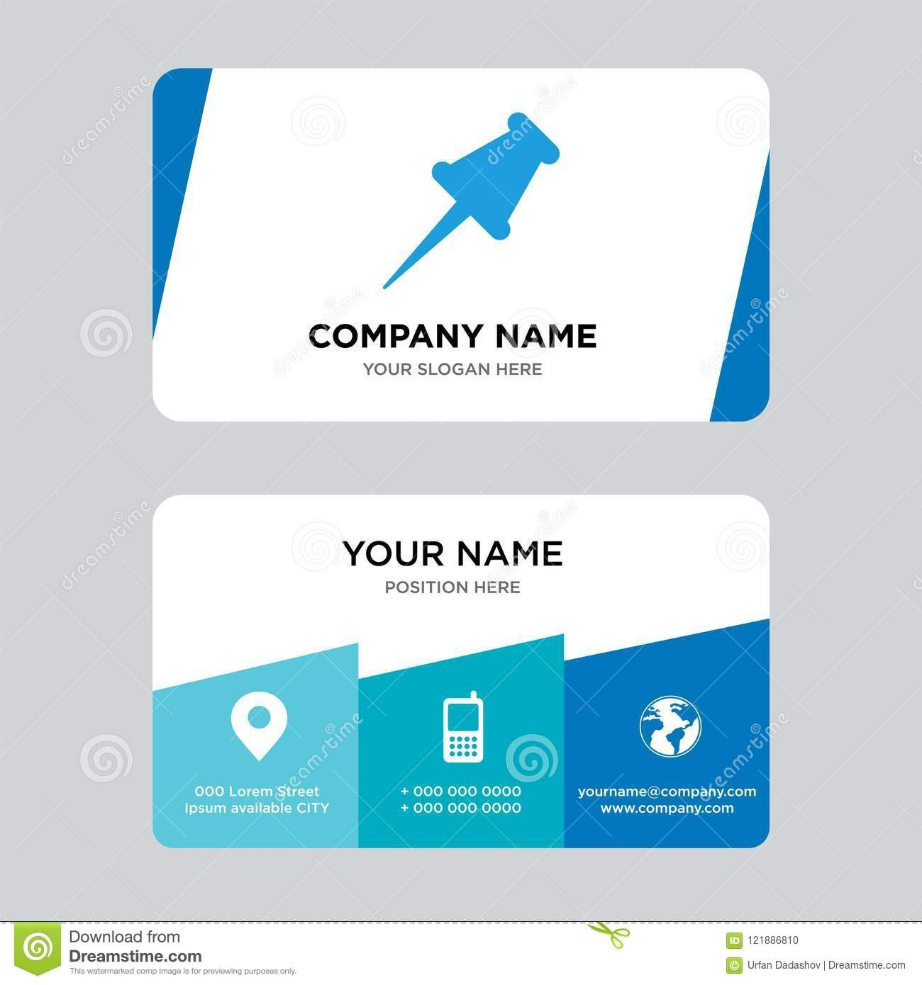Push Pin Business Card Design Template Visiting For Your Company Within Push Card Template