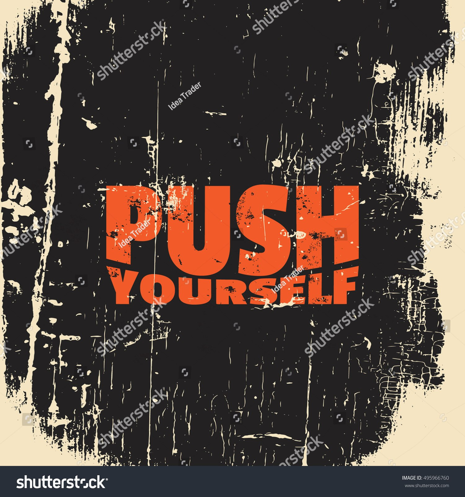 Push Yourself Quote Typographical Background About Stock Vector With Push Card Template