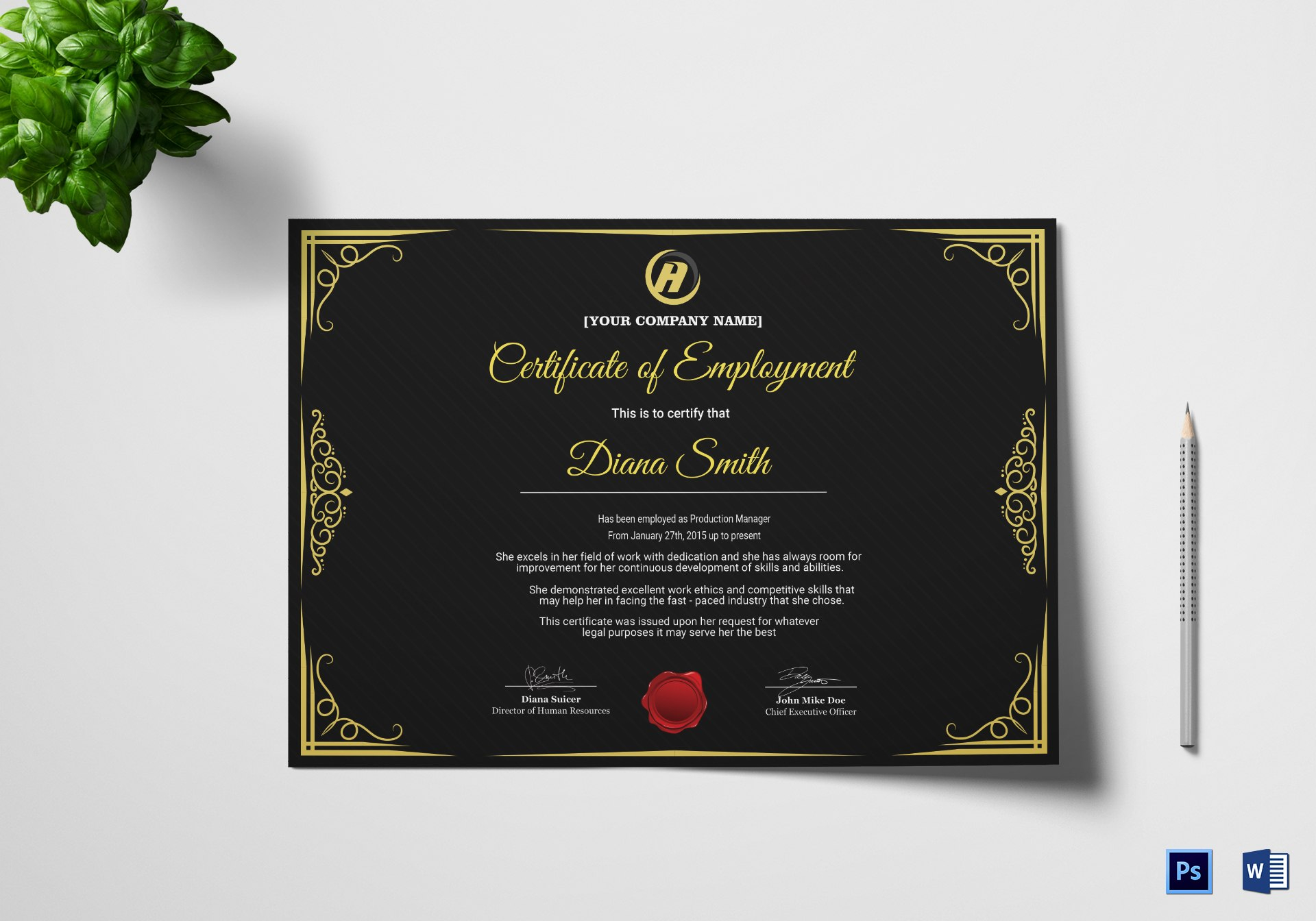 Qualified Employment Certificate Design Template In Psd Word In Commemorative Certificate Template