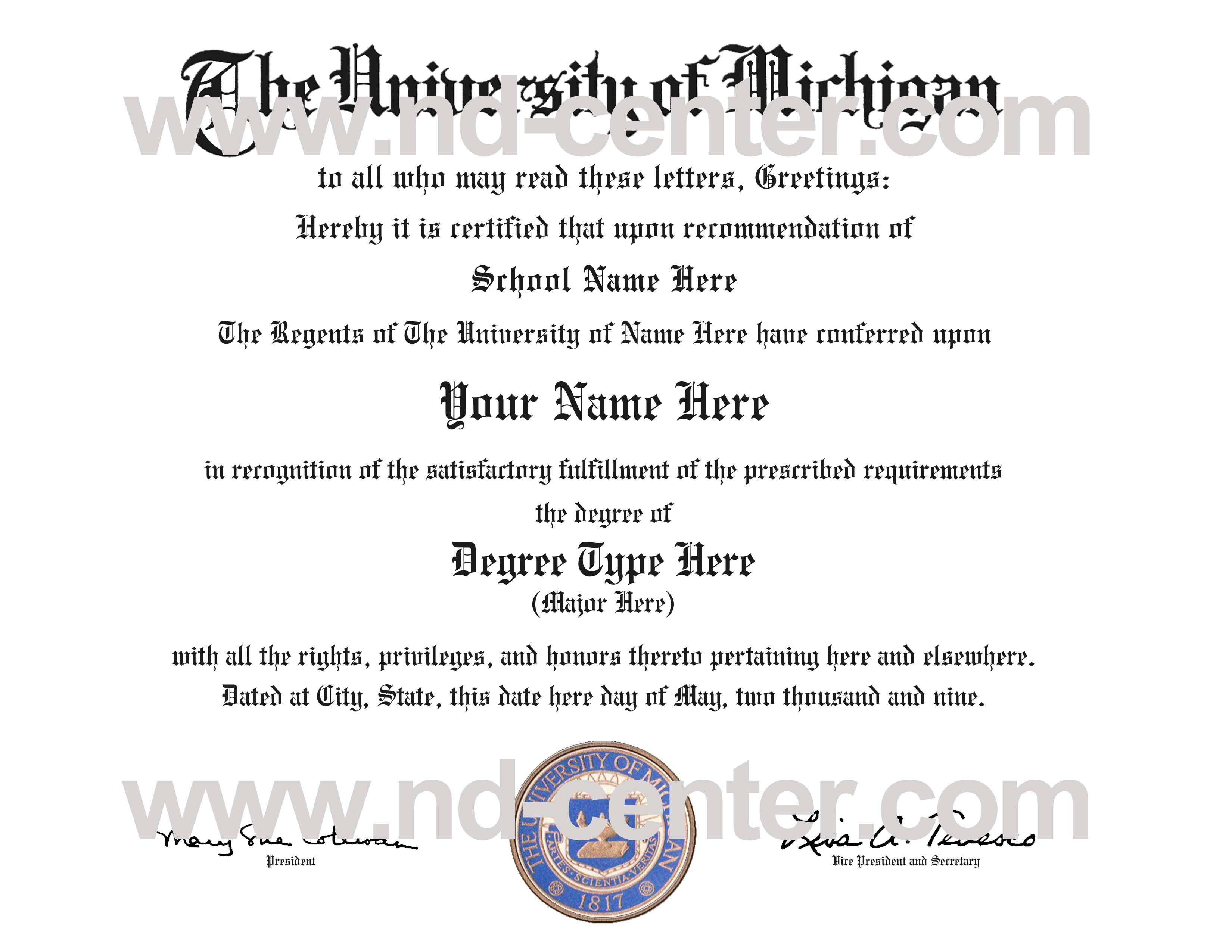 Quality Fake Diploma Samples With Regard To Fake Diploma Certificate Template