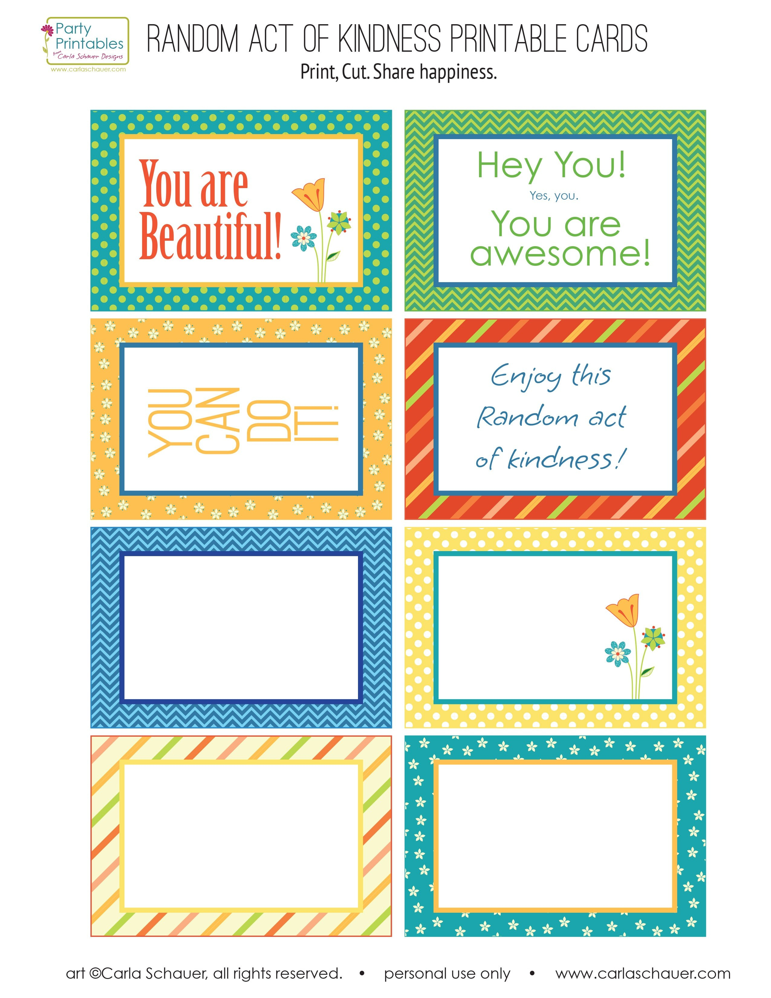 Random Act Of Kindness Free Printables  Carla Schauer Designs Inside Random Acts Of Kindness Cards Templates