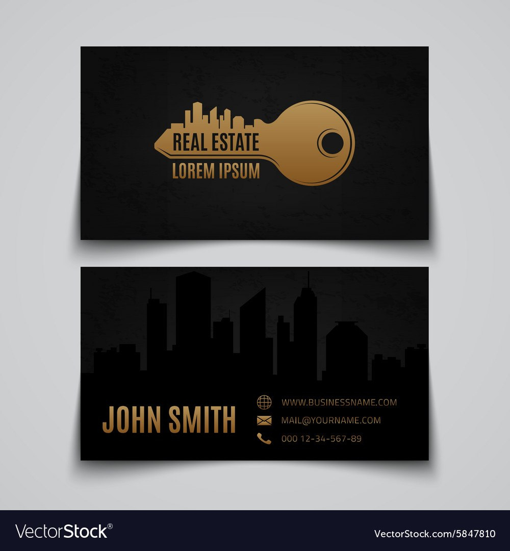 Real Estate Business Card Template Royalty Free Vector Image Throughout Real Estate Business Cards Templates Free