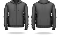 Realistic Detailed D Template Blank Black Male Vector Image pertaining to Blank Black Hoodie Template