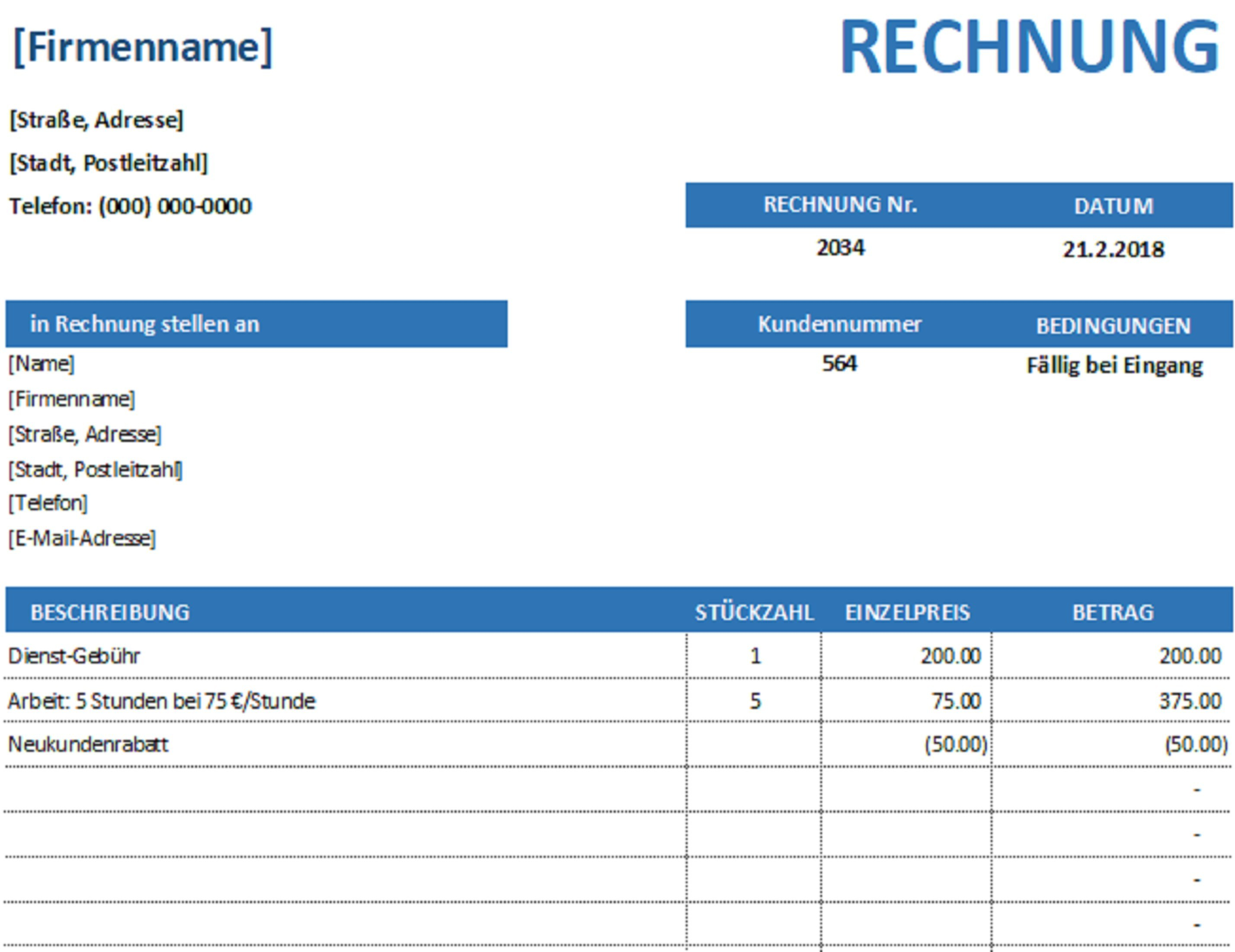 Rechnungen  Office With Regard To Microsoft Office Word Invoice Template