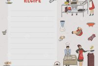 Recipe Card Cookbook Page Design Template With People Preparing regarding Restaurant Recipe Card Template