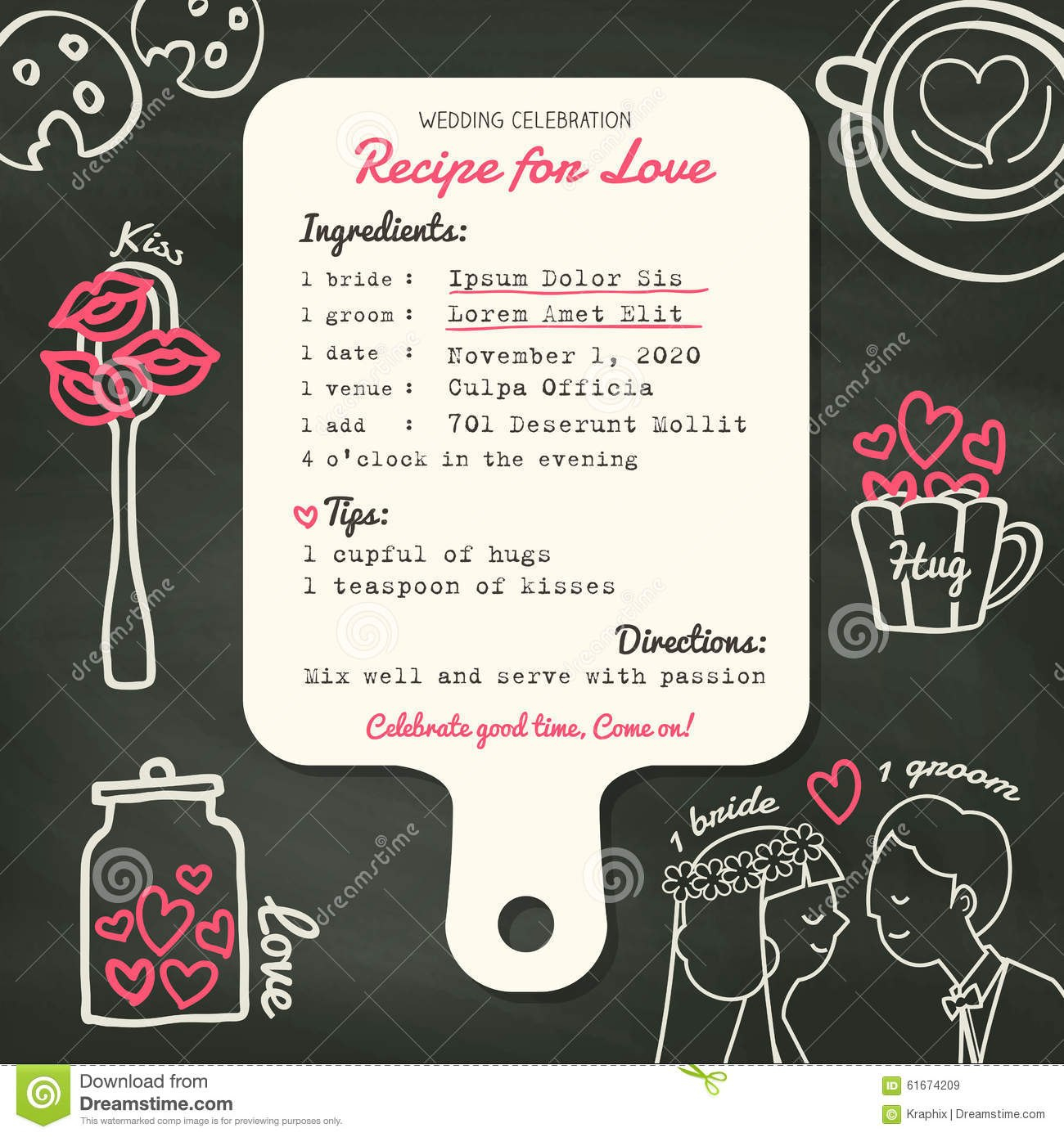 Recipe Card Creative Wedding Invitation Design With Cooking Concept Pertaining To Recipe Card Design Template