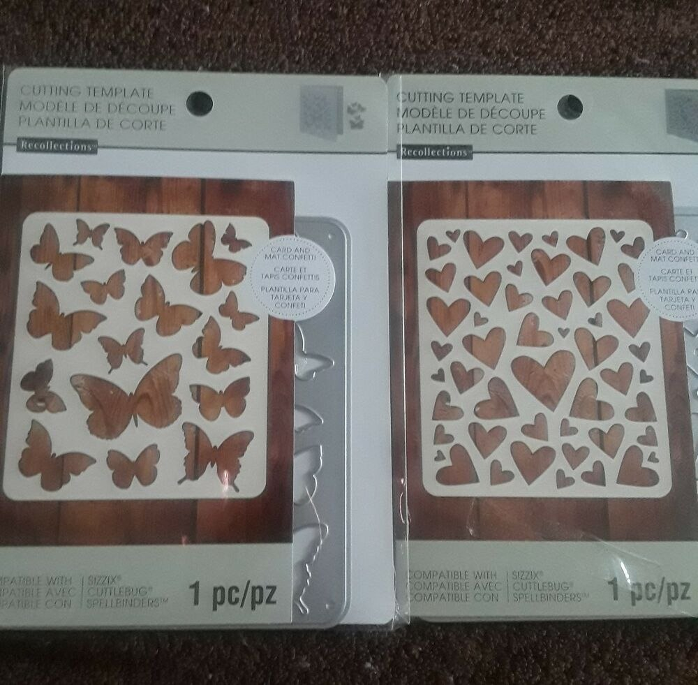 Recollections Cutting Template Butterfly  Piece Hearts  Piece With Recollections Card Template