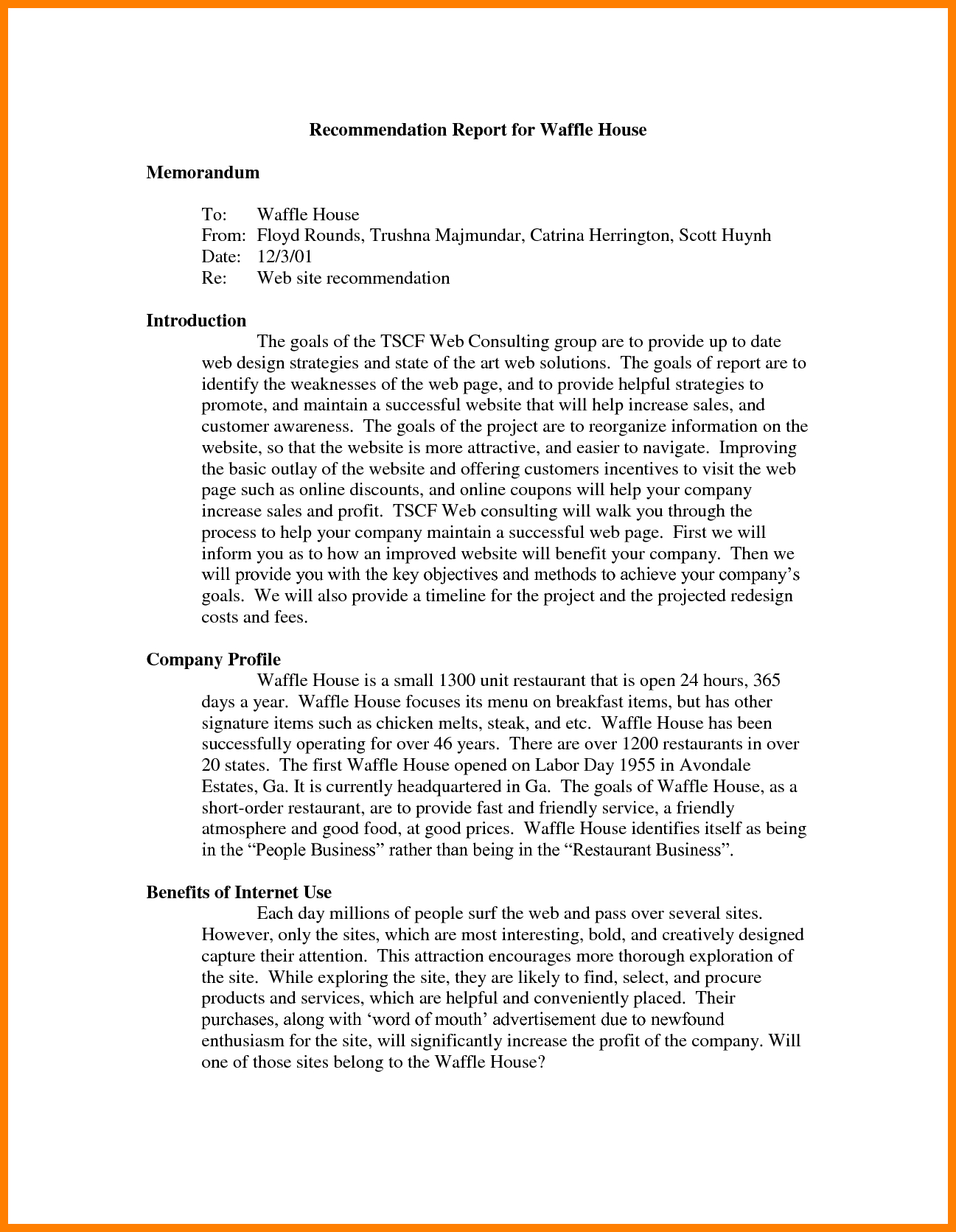 Recommendation Report Example  Letter Adress Regarding Recommendation Report Template